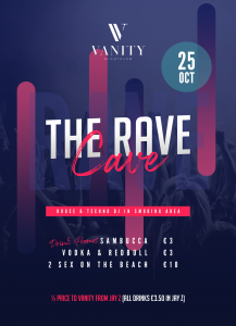 poster rave cave friday 25th oct